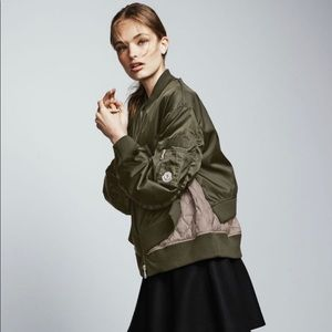 Aralia ruched tiered bomber jacket olive NWT